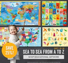 Sea to sea from A to Z! Shop our educational artwork and save 25% off everything through September 18th!