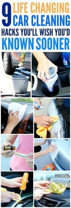 These 9 Clever hacks for cleaning and deep cleaning the car are THE BEST! I'm so happy I found these AMAZING tips! Now I have great car hacks and tips when wanting to make it look like new again! Definitely pinning!