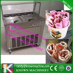 top display cover fried ice cream roll machine and fry ice cream machine110V Free Shipping by sea