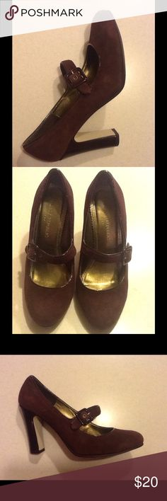 Banana Republic Brown Leather High Heel Banana Republic Size 6 Brown High Heel with buckle strap.  Upper: Leather.  Lining & sock: Pu (Polyurethane footwear is very durable and flexible; keeps water out.) Texture is a luxurious soft feel. Banana Republic Shoes Heels