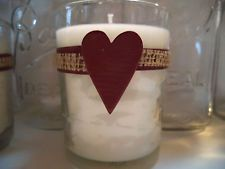 """6 Valentine Red Heart Burlap Country Wedding 9"""" Votive Candle Decorations Wraps"""