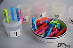 Clothespin Math - Preschool Math Activity | Mess For Less