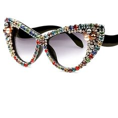a483cd891 Multi color stones 💎 on sale with free worldwide shipping ✈️ Summer  Sunglasses, Cat Eye