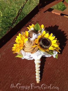 Ready to Ship Burlap, Sunflowers, and Lace Bride's Bouquet Wedding Arrangements with Fabric Flowers