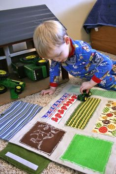Sewing For Boys. Great 'plowing the fields' play mat. - inspiration for a mat for the barn. Must make Tanner since his daddy and pawpaw and great grandpa are farmers!