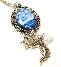 Van Gogh Starry Night Charm Necklace, Picture Charm Necklace, Silver Plated Pendant Necklace, Altered Art Pendant  ~  $24 ea