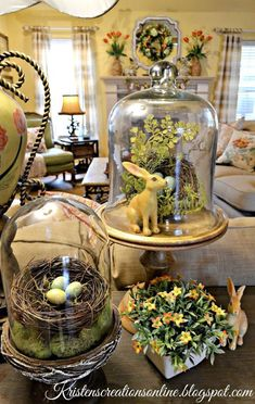 Stunning Easter Centerpieces and Table Decorations Spring Home Decor, Spring Crafts, Spring Decorations, Easter Table Decorations, Turkey Decorations, Cloche Decor, Deco Floral, Hoppy Easter, Easter Bunny