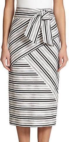 MILLY Striped Midi Skirt  #sponsored