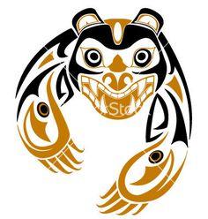 Tribal bear vector 26832 - by renreeser on VectorStock® Haida Kunst, Inuit Kunst, Arte Haida, Haida Art, Inuit Art, Haida Tattoo, 1 Tattoo, Tribal Bear, Arte Tribal