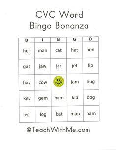 CVC word activities: FREE CVC Bingo Bonanza. 9 different sets of 20 different bingo cards using 200+ CVC words.