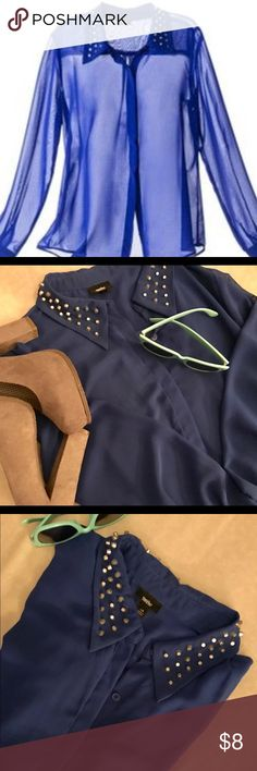 💐SALE ENDS 4/3💐NWOT Mossimo Sheer👚w/Studs▪️ 💐Get ready for spring/summer! Sale ends 4/3💐NWOT never worn, in perfect condition. Mossimo Supply Co sheer blue long sleeve blouse with silver studs across collar. Loose fitting. Smoke-free home. Cover photo is a stock image from Mossimo, the rest are of the item for sale. 🛍📦📬 Mossimo Supply Co. Tops Blouses