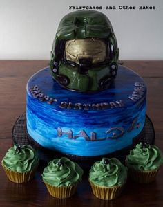 halo cake Video Game Party Wii Party Pinterest Halo cake