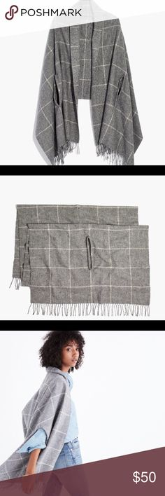 """micro-check cape scarf Simply genius—our designers added convenient armholes to a cozy scarf so it can be worn around the neck or as a cape. Either way, this micro-check style makes a brilliant travel companion.  Wool/acrylic. 78 3/4""""L x 27 1/2""""W. Dry clean. Import. Item H0833. Madewell Accessories Scarves & Wraps"""