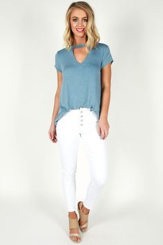 Friday Love Top In Sky Blue