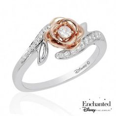 Enchanted Disney Fine Jewelry Belle's Rose Diamond Fashion Ring - edlen Schmuck Gold Diamond Rings, White Gold Rings, White Gold Diamonds, Diamond Jewelry, Gold Jewelry, Rose Gold, Luxury Jewelry, Vintage Jewelry, Silver Rings
