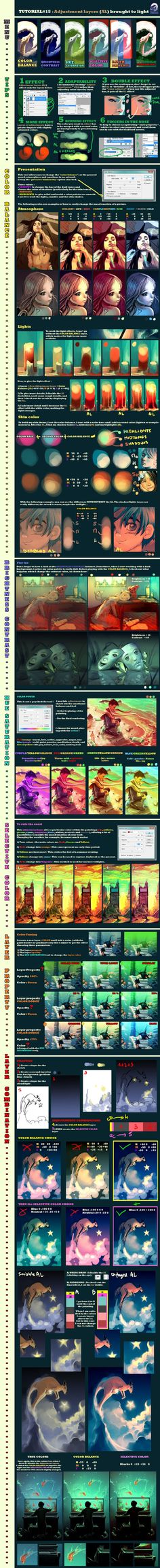 Tutorial 15 Adjustment layers brought to light by `AquaSixio on deviantART color light photoshop Digital Art Tutorial, Digital Painting Tutorials, Art Tutorials, Drawing Tutorials, Doodle Drawing, Drawing Tips, Coloring Tutorial, Color Studies, Process Art