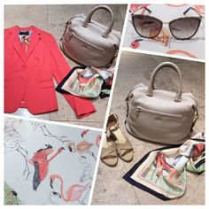 "Max Mara SS 2014 Collection: Weekend Blazer in pink | Cream MaxMara leather handbag | Scarf is from weekend collection with beautiful print | Nude MaxMara wedges and MaxMara Sunglasses ""Classy 1"".  Prices on request."