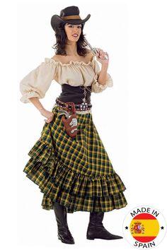 Cowgirl kostuum voor dames: Deze cowgirl outfit voor vrouwen bevat een topje, een rok en een hoedje. (Pistool, hoesjes niet inbegrepen).Het topje is beige en mooi sexy.De rok is geel en groen. Deze kunt u...