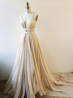 Charming A-Line Deep V-Neck Spaghetti Straps Long Prom Dress