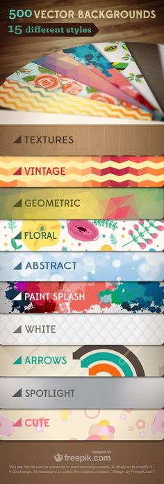 500 Free Vector Backgrounds #freebie