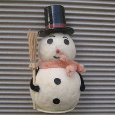 Vintage Christmas Ornament Snowman Spun Cotton Tabletop Decoration