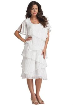Roamans Women's Plus Size Tiered Clip Dot Dress (White,20 W) Roamans http://www.amazon.com/dp/B00HHYMNIY/ref=cm_sw_r_pi_dp_dS-7tb0GF4TJQ