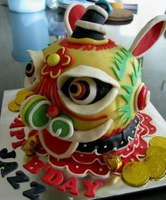 Chinese Lion Cake Make cake decoration and cake baking easy with these cake tins. Pretty Cakes, Beautiful Cakes, Lion Dragon, Lion Cakes, Round Cakes, Cake Tins, Traditional Chinese, Fabulous Foods, Chinese New Year