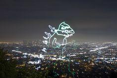 Curious Godzilla light art