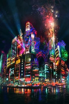 meriamber.tumblr.... lights city bright neon light night nighttime time love asia water reflection reflections