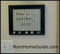 So Smart & easy to do: dry erase, picture frame, board, DIY