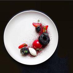 Beautiful Dessert by @steph983d Red Velvet l Chocolate Beet Cake, Vanilla White Chocolate Mouse Covered in a Sweet Beet Glaze, Orange Goats Cheese Mousse, Beet Orange Segments & Lemon Balm. @rafacovarrubias @ckeverest @brianchristiancruz @louiec9 @realone007 @marketcalgary .