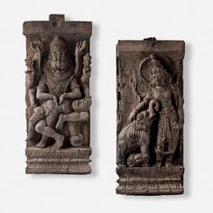 A PAIR OF WOOD CARVINGS FROM A CEREMONIAL CHARIOT, Southern India, 19 Century CE, Live Auction, December 17, 2014