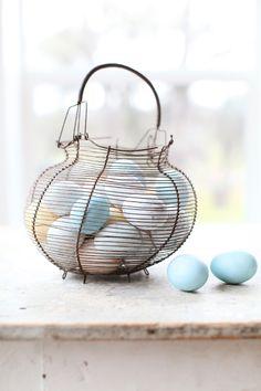 vintage french egg basket//