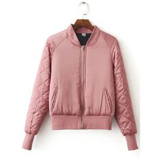 Yoins Pink Fashion Quilted Diamond Sleeves Zipper Bomber Jacket (130 RON) ❤ liked on Polyvore featuring outerwear, jackets, yoins, pink, red zipper jacket, red jacket, zip jacket, long sleeve jacket and bomber jacket