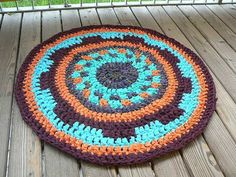 orange blue coloured DIY Crochet Round Rag Rug OOAK mat carpet bath mat outdoor Eco friendly on Etsy, $54.69