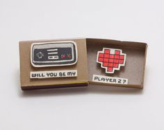 "Items similar to Geeky Proposal Card / Funny Love Card/ Gamer Love Card/ Matchbox/""Will you be my Player on Etsy Nerdy Valentines, Funny Valentine, Valentine Day Cards, Matchbox Crafts, Matchbox Art, Funny Proposal, Funny Love Cards, Diy Cadeau, Ideias Diy"
