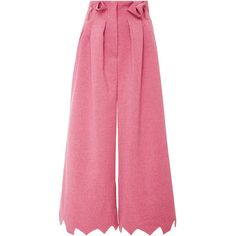 Tata Naka Jagged Edge Trousers ($860) ❤ liked on Polyvore featuring pants, capris, trousers, pleated pants, pleated wide leg pants, tata naka, wide-leg pants and jag pants