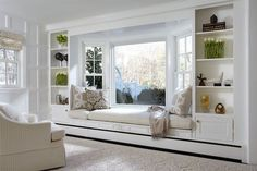 A home may not always be complete without a bay window seat. Whether it is a house or an apartment, you can have at least one. Make sure that these bay window seats are suitable for the whole conce… Window Benches, Bay Window Seating, Bay Window Decor, Window Seats Bedroom, Modern Window Seat, Window Seat Cushions, Bay Window Curtains, Modern Windows, Bedroom Windows