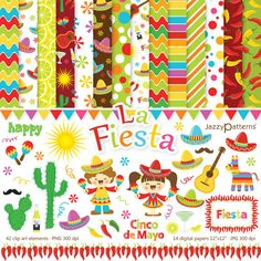Fiesta clip art and digital paper pack DK004 by JazzyPatterns, $8.00