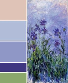 Irises by Claude Monet Colour Pallette, Colour Schemes, Color Combos, Canker Sore Home Remedies, Claude Monet House, Art Et Architecture, Monet Paintings, Color Studies, Color Swatches
