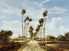 Meyndert Hobbema - The Alley at Middelharnis (1689) The National Gallery, London UK #art #painting #landscape
