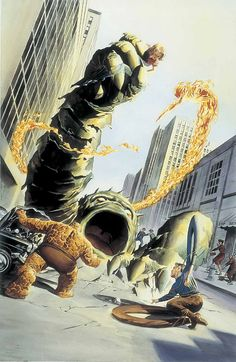 the fantastic four number one cover recreation by Alex Ross
