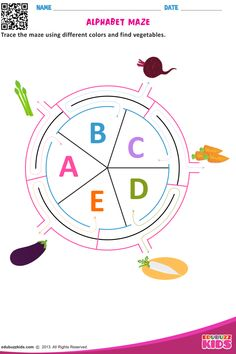 Free English alphabet maze that allow kids to Trace the maze using different colors and to be find vegetables, animals, fruits, birds etc, by tracing the maze from particular alphabet. Nursery Worksheets, Letter Worksheets, Printable Worksheets, Learn English Kid, English Lessons For Kids, Bee Activities, Maze Worksheet, Fruits For Kids, Study Techniques