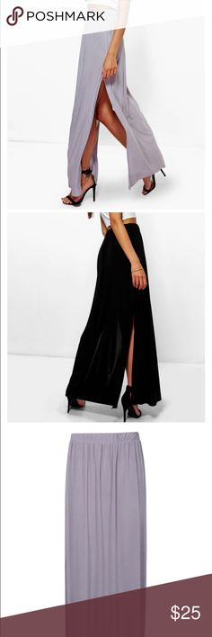NWT Double Side Split Maxi Skirt NWT Double Side Slit Maxi Skirt.  The stock photos from brand's website are to show fit not color.  The color is grey.  Adorable skirt!! Boohoo Skirts Maxi