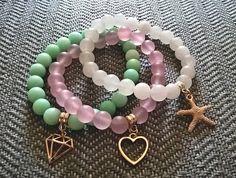Pastel Pink Mint White Mat Jadeite Bracelet Set witch Gilded