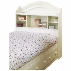 South Shore Summer Breeze Collection Twin Bookcase Headboard White Wash