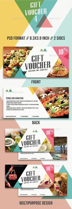 Buy Gift Voucher - 4 by apriliapratama on GraphicRiver. GIFT VOUCHER – 4 It is a gift voucher or discount coupon for your business such as restaurant, salon, fitness, spa, t. Web Design, Layout Design, Creative Design, Food Vouchers, Gift Vouchers, Booklet Design, Brochure Design, Branding Design, Ticket Design