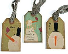 primitive snowman tags | Set of 3 Primitive In the Meadow Snowmen Tags - Christmas Ornaments ...