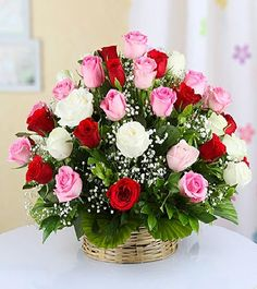 A Romantic Mix Roses Basket 25 Mix Roses Basket Arrangement & White Fillers Free message card Best Flower Delivery, Online Flower Delivery, Best Valentine Gift, Valentine Gifts For Girlfriend, Valentine Ideas, Rose Basket, Rose Arrangements, Beautiful Rose Flowers, Mothers Day Flowers