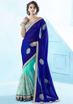 Appealing Aqua Mint and Indigo Blue Saree…